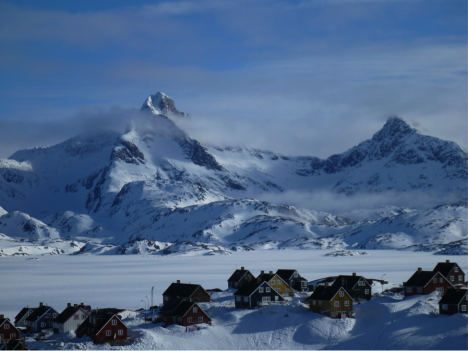The village of Tasiilaq on the day of our flight to the ice sheet in SE Greenland where the Air Greenland B-212 helicopter is based.  (Credit: Rick Foster.)