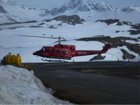 The Air Greenland B-212 helicopter landing in Tasiilaq. (credit: Rick Forster.)