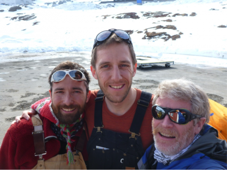 From left to right: Clément Miège, Ludovic Brucker, and Rick Forster happy to be finally boarding the helicopter for the flight to the ice sheet. (Credit: Rick Forster.)