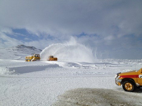 Machinery removing snow  at the Kulusuk airport. (Credit: Ludovic Brucker.)