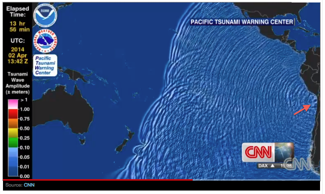 Wave propagation http://www.cnn.com/2014/04/01/world/americas/chile-earthquake/