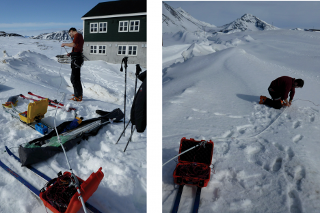 Setting up the IceRadar for the first time in Greenland, with the 5 MHz antennas. The lower the frequency used for the radar, the longer the antenna has to be. For a 5MHz system, the antenna length is 20 meters (about 70 feet), and there are two of them (receiving and transmitting). (Credit: Rick Foster)