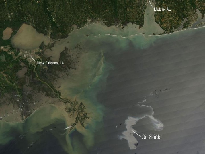 Satellite image of oil slick in the Gulf of Mexico following the sinking of the Deepwater Horizon platform  http://www.nasa.gov/multimedia/imagegallery/image_feature_1649.html