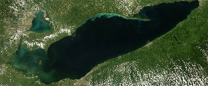 Harmful Algae Bloom in Lake Erie  http://oceanservice.noaa.gov/hazards/hab/