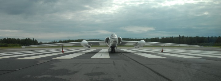 NASA's ER-2 sits at the end of the runway, ready for takeoff. (Credit: Doug Morton/NASA)