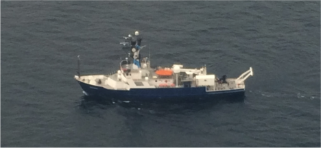 The R/V Endeavor as seen from the sky! Photo courtesy of David Harper, NASA Langley Research Center
