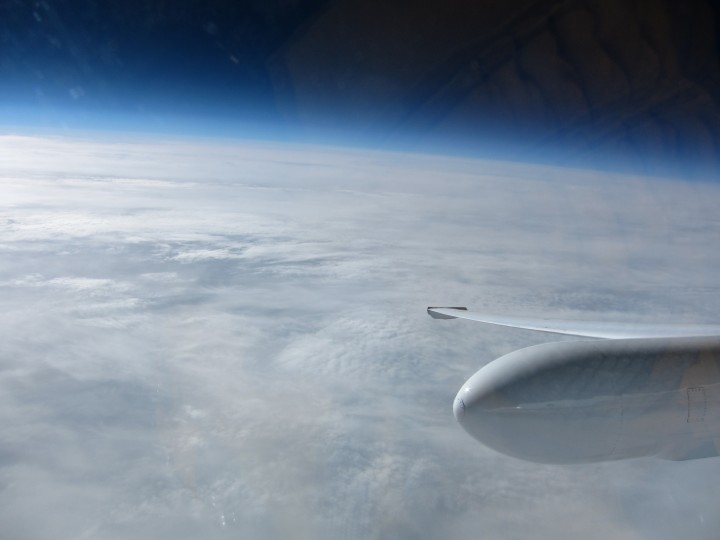 NASA pilot Tim Williams flew over the North Pole Wednesday. It was a cloudy day at 90 degrees North, as seen from the ER-2 cockpit. (Credit: Tim Williams/NASA)