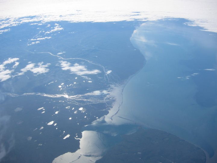 The view of Alaska from the cockpit, as Tim Williams returns from the North Pole. (Credit: Tim Williams/NASA)