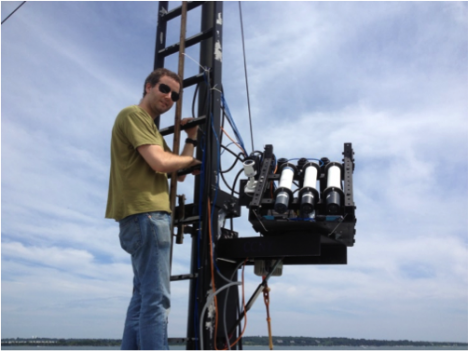 I'm setting up HyperSAS-Pol on the bow tower of the R/V Endeavor. Photo courtesy of Alex Gilerson, City College of New York