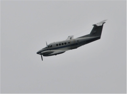 The NASA Langley plane circling the R/V Endeavor on Sunday afternoon. Photo courtesy of Wayne Slade, Sequoia Scientific