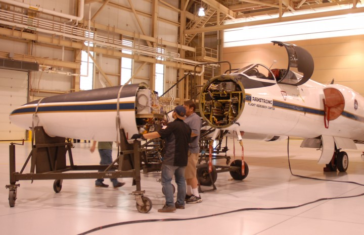 The ER-2 crew rolls the aircraft's nose -- containing MABEL -- away from its body, so engineers could work on the instrument. (Credit: Kate Ramsayer)
