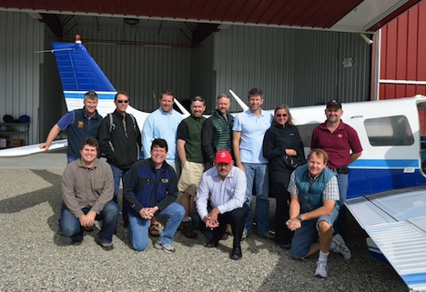 On July 14, 2014, NASA and USFS collaborators wait in Fairbanks, Alaska, for the start of G-LiHT flights. Top row: Hans Andersen (USFS PI), Tom Wirth (EPA), Grant Domke (USFS), Hobie Perry (USFS), Chris Woodall (USFS), Doug Morton (NASA), Gretchen Nicholas (USFS), Larry Corp (NASA/Sigma Space). Bottom: Matt Fagan (NASA/ORAU), Bruce Cook (NASA), Greg Reams (USFS), Ross Nelson (NASA)