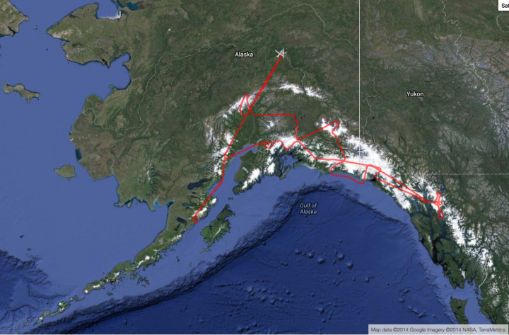 The ER-2, with MABEL on board, flew over volcanoes and glaciers in south central and southeastern Alaska.