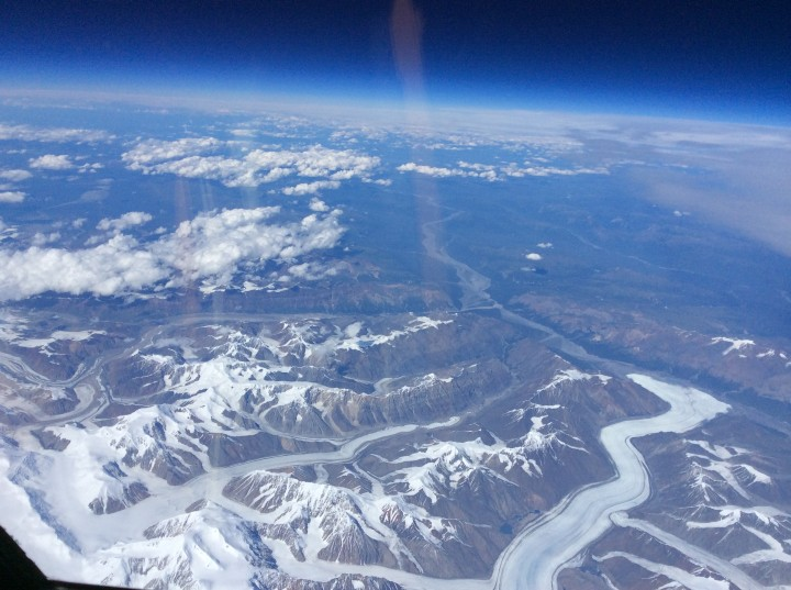 From NASA's ER-2 aircraft, pilot Denis Steele saw glaciers in southern Alaska and Canada -- including the Steele Glacier, in the center of the image, and the Donjek Glacier (lower right). (Credit: Denis Steele)