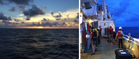 Left: View of the sunset from the top deck. Right: Deck operations just after sunset, which includes deploying two instrument packages that measure a variety of optical parameters, and the CTD rosette, which collects water samples from different depths. Credit: Ali Chase