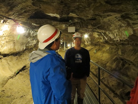 G-LiHT PI Bruce Cook talks with Tom Douglas (US Army Corps of Engineers) during a tour of the Permafrost Tunnel Research Facility before a joint field visit to the Cold Regions Research and Engineering Laboratory (CRREL) field sites outside Fairbanks, Alaska.