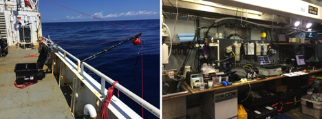 Left: The flow-through intake system; the hose hanging from the end of the black boom sucks up water continuously using the pump located in the black box on deck. Right: The wet lab in all its glory – the tubing with the water pumped from outside can be seen running up near the ceiling; it then flows through several instruments positioned both in the sink and on the bench top. Credit: Ali Chase