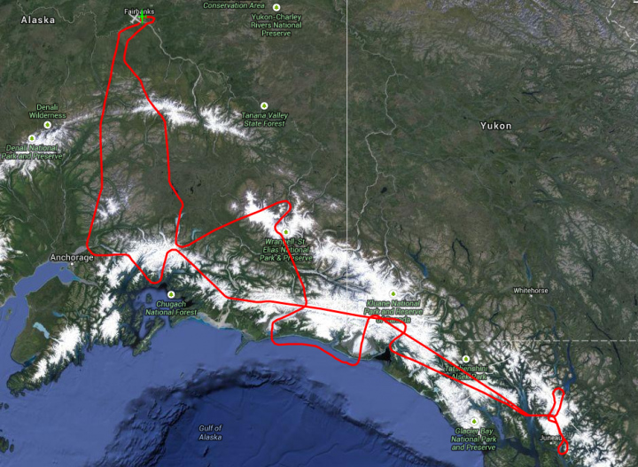 The MABEL campaign's July 24 flight route covered glaciers, ice fields, forests, the Gulf of Alaska and more. (Credit: NASA)