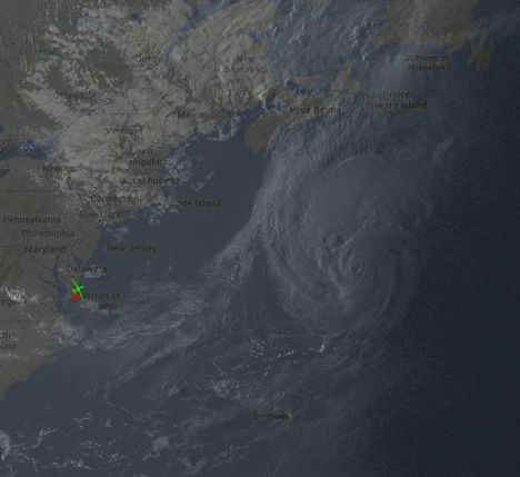 Slightly after AV-6 (green aircraft icon) took off from Wallops Flight Facility on August 28, 2014, Hurricane Cristobal was located just off the East coast of North America. This image is a combination of GOES visible imagery and a Google map for reference.