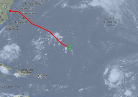 September 11, 2014 - AV-6 (green icon) flies from WFF to Tropical Depression Six as seen in GOES infrared imagery overlaid on a Google map