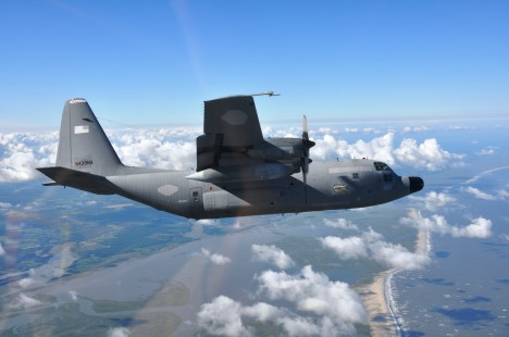 C-130 flying a check flight