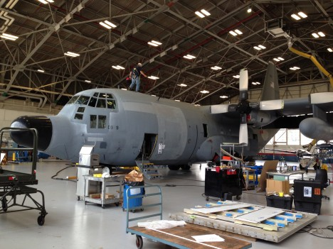 C-130 in hangar