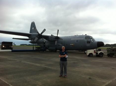 Christy Hansen in front of NASA C-130