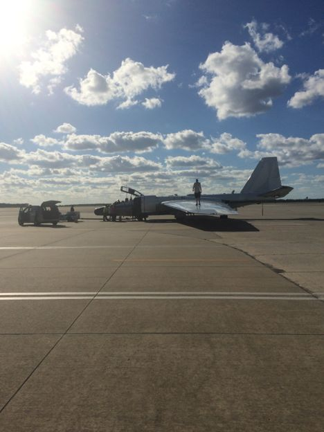 The WB-57 crews and pilots prepare for take-off from MacDill Air Force Base on October 16, 2014