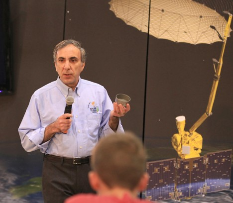Science team leader Dara Entekhabi discusses the science and engineering of NASA's Soil Moisture Active Passive (SMAP) mission with the audience of a NASA Social held on January 28, 2015, at Vandenberg Air Force Base in California. Credit: NASA