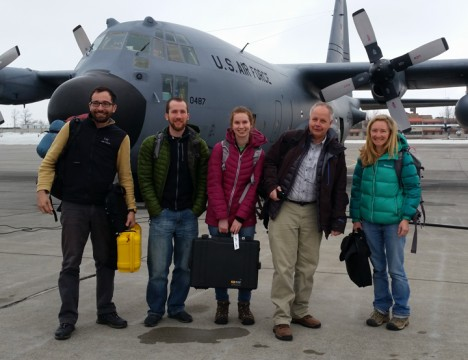 The team getting on our C-130 flight to Greenland.  From left to right: Clem, Josh, Lynn, Kip and Olivia.