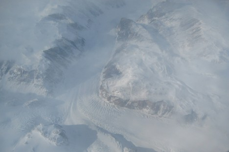 One of our first views as we flew into Greenland.