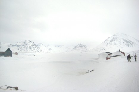 View from Kulusuk over the sea ice. The low visibility has delayed flights.
