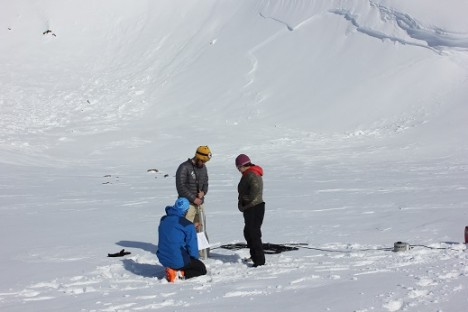 Clem, Josh and Lora testing the new ice core drill.