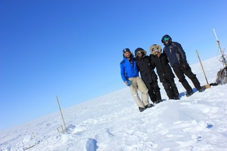 The slope of the ice sheet was crazy! Or we just took a very crooked picture. From left to right: Clem, Lynn, Olivia, and Anatoly.