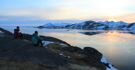 Lynn and Olivia enjoying the Kulusuk sunset on their last day.