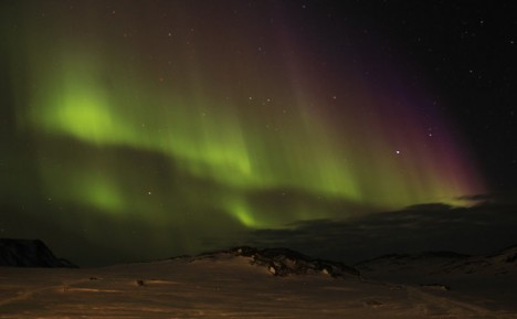 Northern lights from the Kulusuk Hotel.