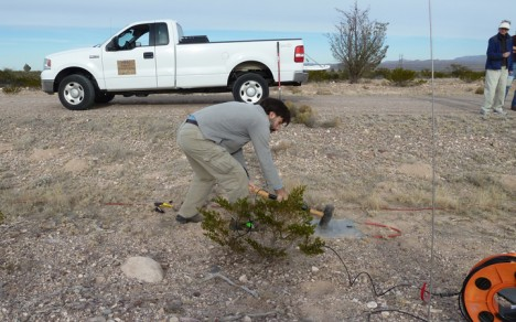 Nick is practicing a few sledge hammer swings during the training at the PASSCAL facilities, Socorro, NM.