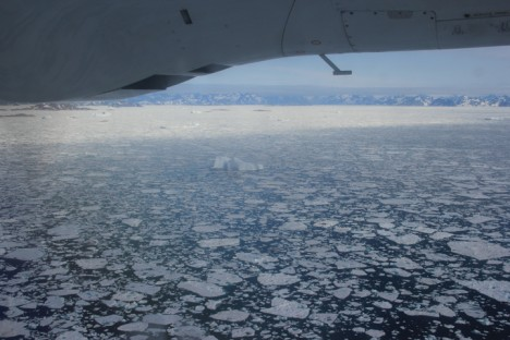 View from flight into Kulusuk with broken up sea ice (flat round ice) and ice bergs that have calved from the nearby glaciers (taller more jagged ice).