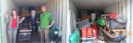 Left: Lynn and I posing at the front of the container after putting the snowmobile inside. Right: gear in the container, ready to over winter.