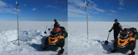Anatoly posing next to the iWS from the University of Utrecht before and after backfilling the 2-feet deep snow pit.