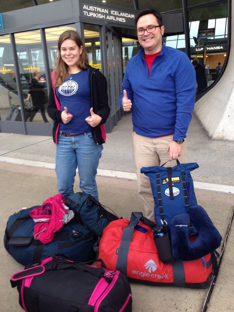 Christine Dow and Ryan Walter, on the day of their departure for Antarctica.