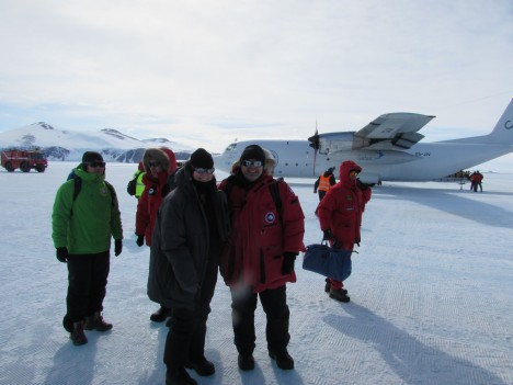 Christine Dow and Ryan Walker, setting foot in Antarctica.
