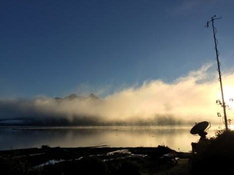 Fog over Lake Quinault as viewed from the DOW location (Photo credit: Angela Rowe)