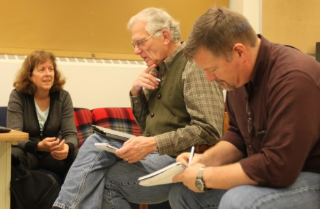 Lead OLYMPEX scientists and operations directors Dr. Lynn McMurdie, Prof. Robert A. Houze, Jr., and Dr. Walter Petersen (left to right) discuss the current situation during a morning briefing.