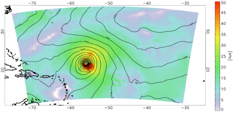Analysis of the surface wind (shaded) and surface pressure (lines) on August 5 at 0000 UTC. The data assimilation method was a 3-D variational analysis scheme used by NCEP called GSI. This includes all available CYGNSS data within +/- 3 hours of the analysis time.