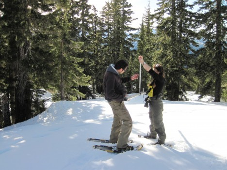 Making snow density measurements in the Olympic National Park. Photo by Bill Baccus.