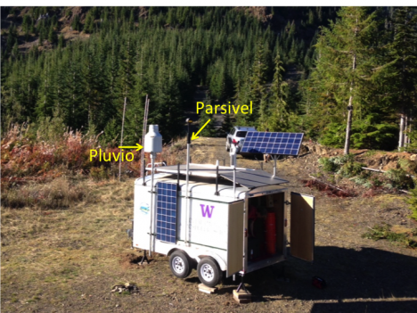Instrumented trailer installed on the southern side of the Olympic Mountains. The Pluvio and Parsivel are mounted high on the trailer to keep them above the accumulating snowpack.