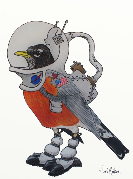 A space robin mascot for our Migration Mystery. Drawing by Nicole Krikun.