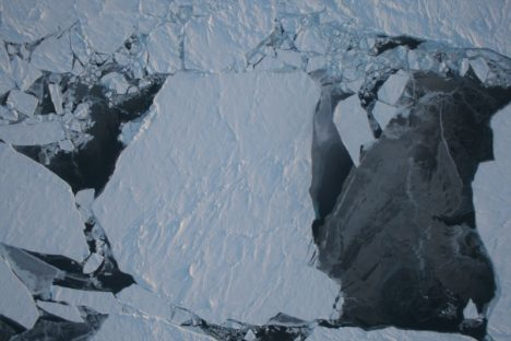 An image of sea ice in northwest Greenland, capture by NASA's Operation IceBridge.