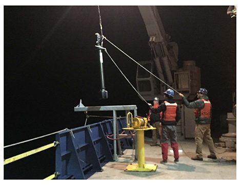 Deployment of a biogeochemical float from the back deck of the R/V Atlantis. Photo: Lee Karp-Boss
